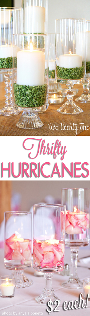 Thrifty Hurricanes! Only $2 each! Perfect for everyday decor or special occasions!