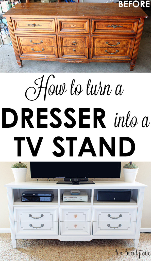 How To Turn A Garage Into A Bedroom: How To Turn A Dresser Into A TV Stand {DIY}