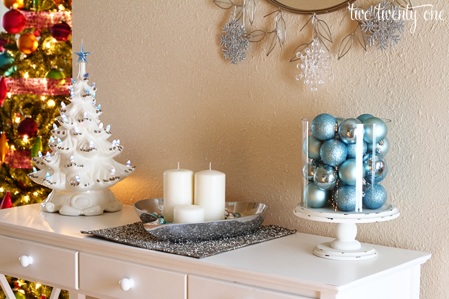 blue and silver vignette - Entryway Christmas Decorations