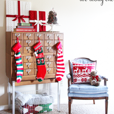 Card Catalog Christmas Vignette