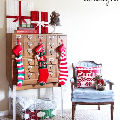 Card Catalog Christmas Vignette