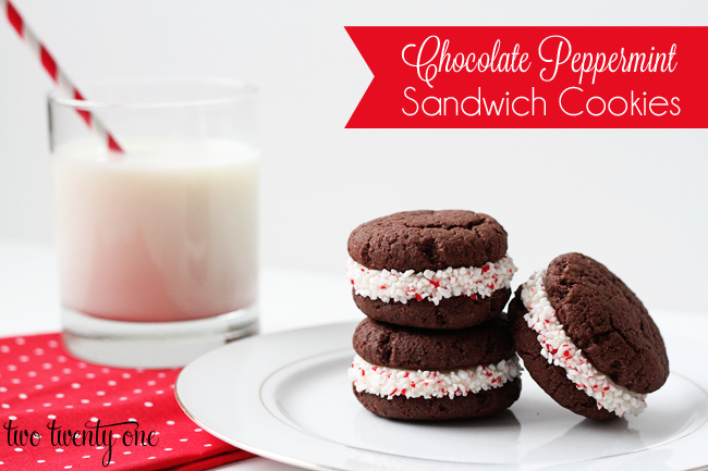Chocolate Peppermint Sandwich Cookies - Two Twenty One