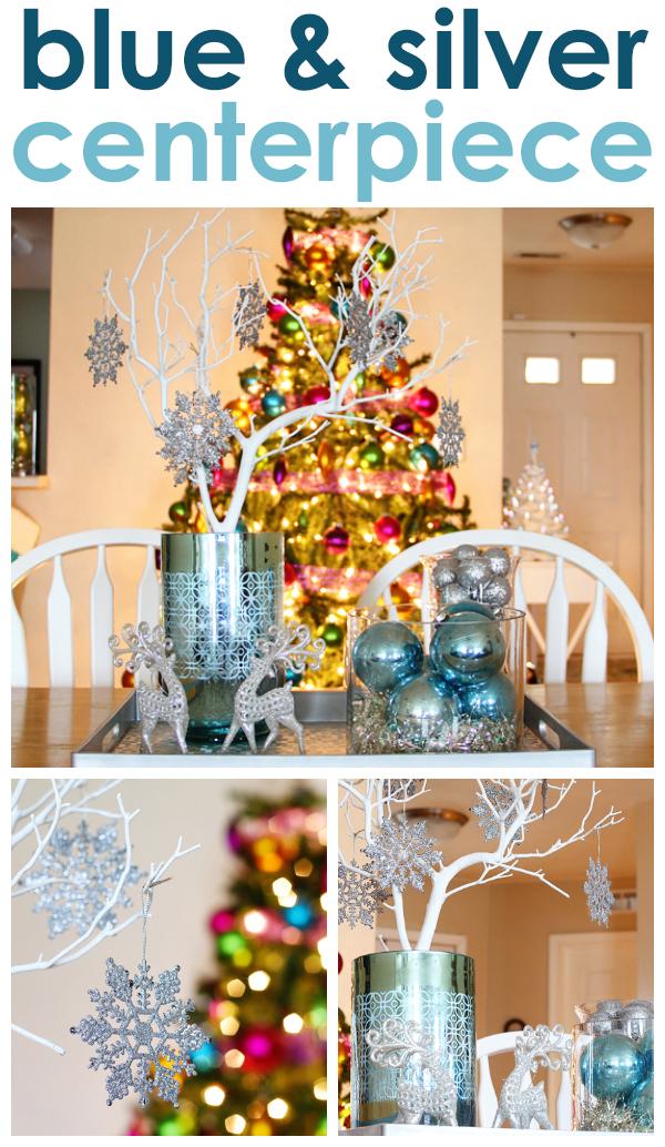 Blue Silver Christmas Centerpiece