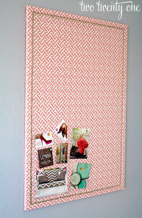 Faux Nail Head Trimmed Cork Board {Message Board} - Two Twenty One