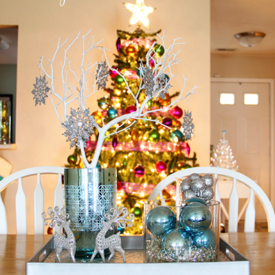 Silver And Blue Christmas Centerpiece