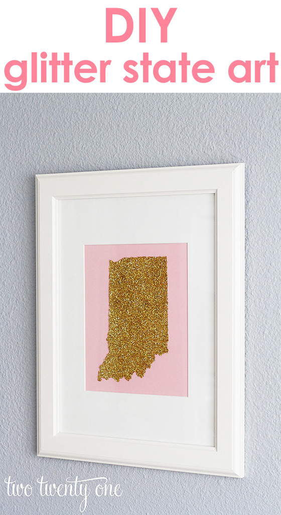 Easy and inexpensive glitter state art!  She made it for $0!
