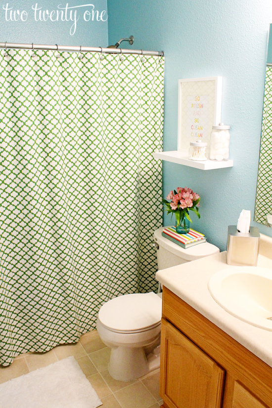 green and blue bathroom
