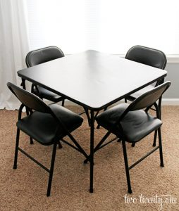 card table makeover two twenty one. Black Bedroom Furniture Sets. Home Design Ideas