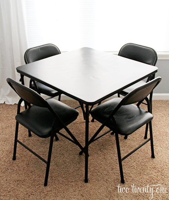 black card table