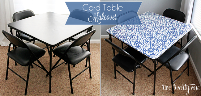 card table makeover before and after