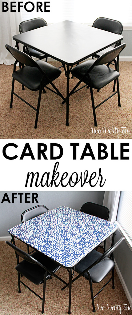 Easy and inexpensive card table makeover!