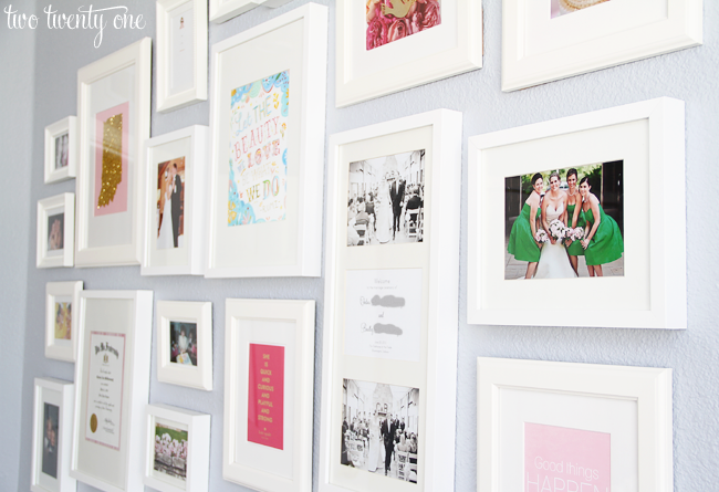 the gallery wall contains photos one of my favorite katie daisy prints a kate spade cardprint my glitterfied indiana artwork and random things i framed