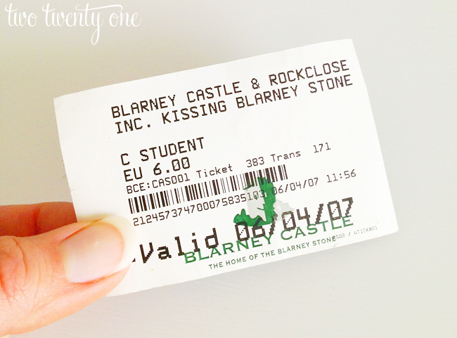 blarney castle ticket stub