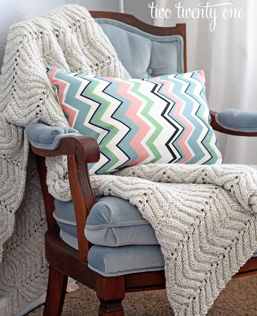 chair with chevron pillow