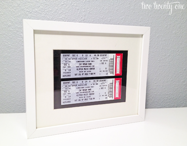 framed concert tickets