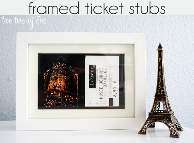 framed ticket stubs