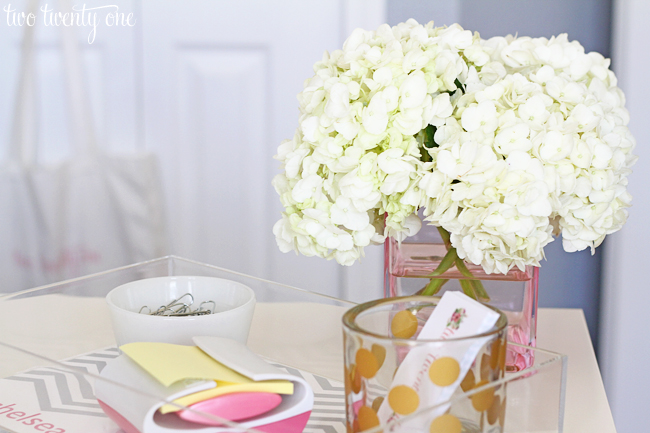 home office hydrangeas
