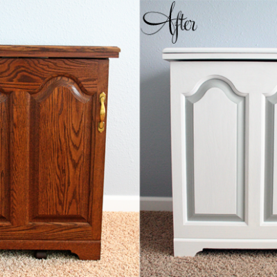 Sewing Cabinet Makeover {How to Paint Laminate Furniture}