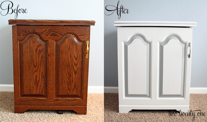 Kate s tutorial on how to paint laminate furniture helped me get the job  done  First  I primed the cabinet with Zinsser primer. Sewing Cabinet Makeover  Painting Furniture    Two Twenty One