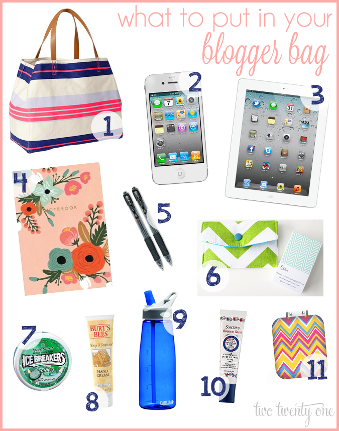what to put in your blogger bag