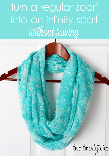 turn a regular scarf into an infinity scarf without sewing