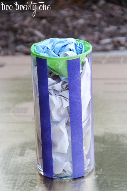 spray paint a vase