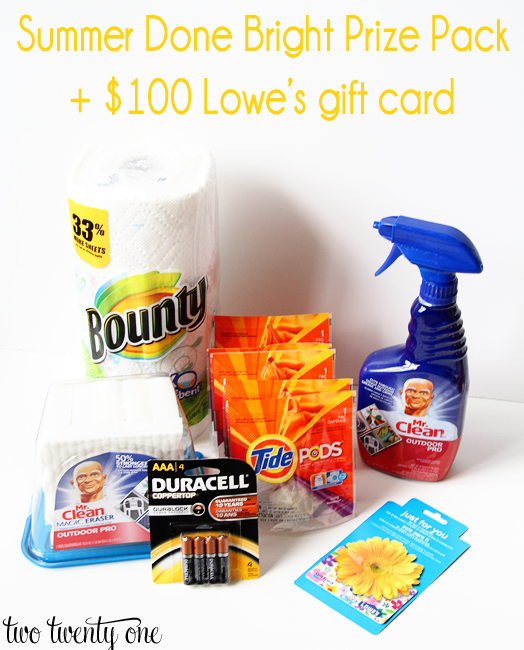 summer done bright prize pack and lowes gift card