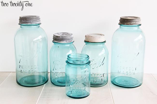vintage blue ball mason jars
