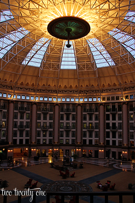 west baden springs hotel atrium at night