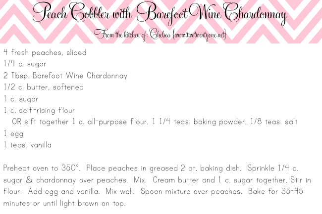 4x6 peach cobbler with Barefoot chardonnay