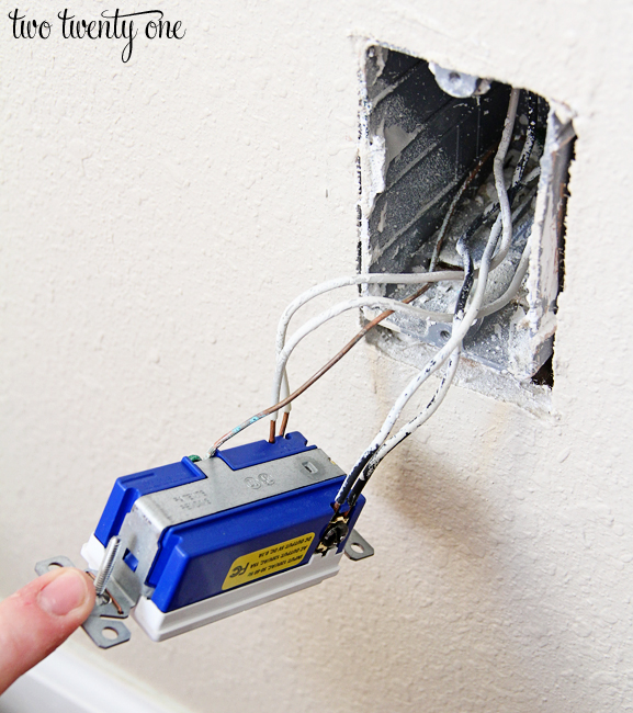 how to install a usb wall outlet receptacle outlet rh twotwentyone net Electrical Socket Wiring usb wall outlet wiring