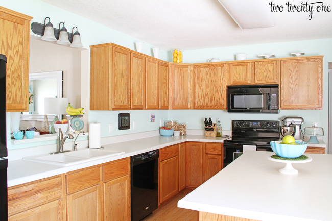 builder grade honey oak cabinets