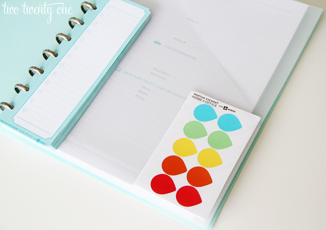 martha stewart home office with avery discbound task pad and color coding labels