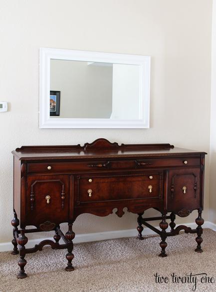 mirror above buffet