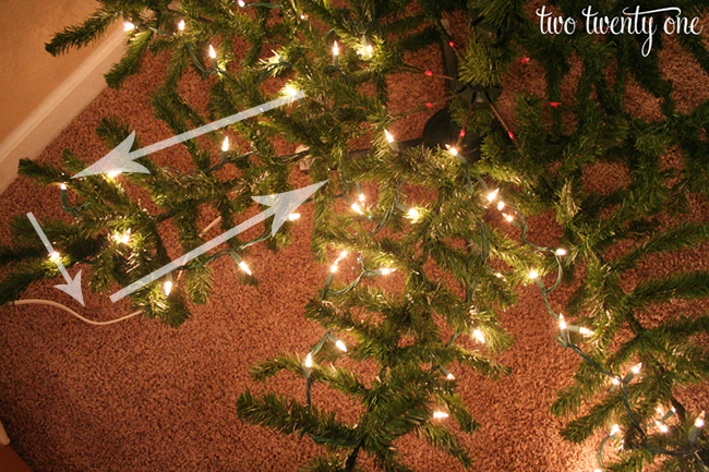 How To String Lights On A Large Christmas Tree : How to Put Lights on a Christmas Tree - Two Twenty One