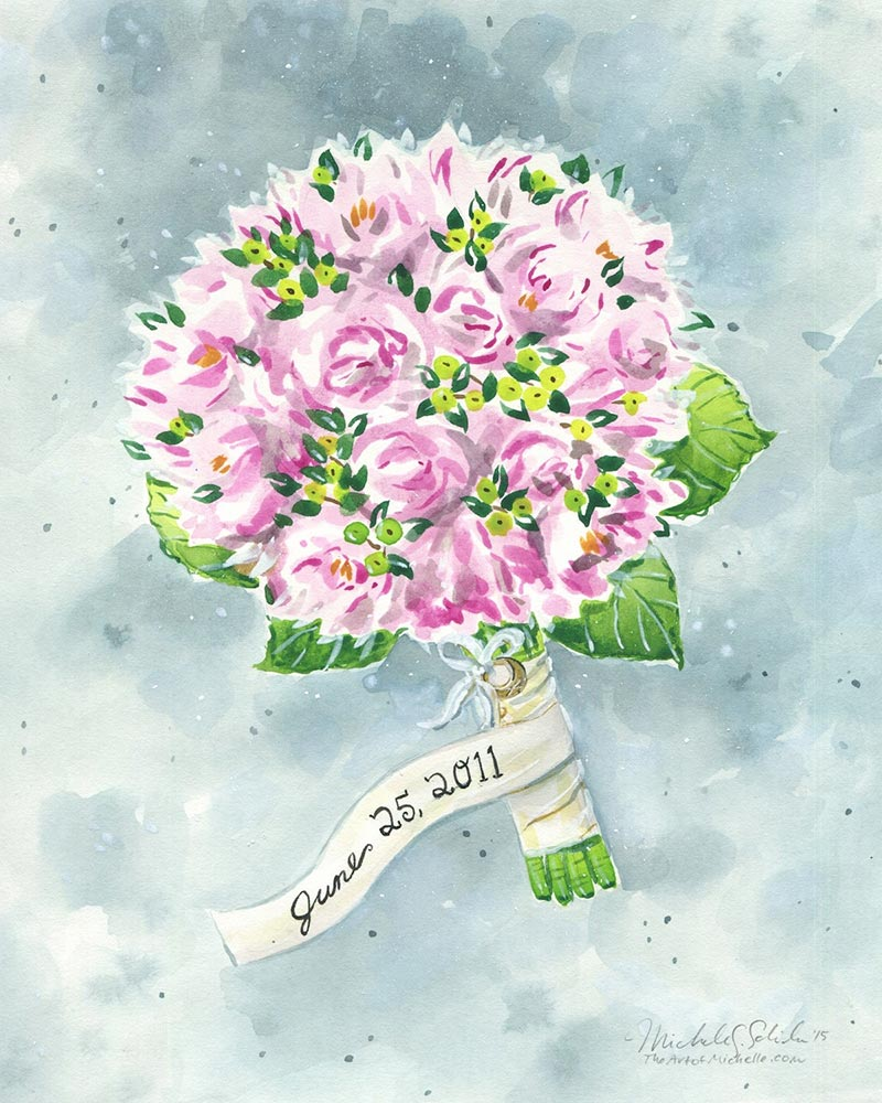 4th wedding anniversary gift idea-- custom wedding bouquet painting