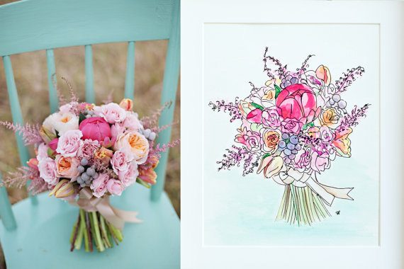 Custom Bouquet Painting by Sarah Park Designs
