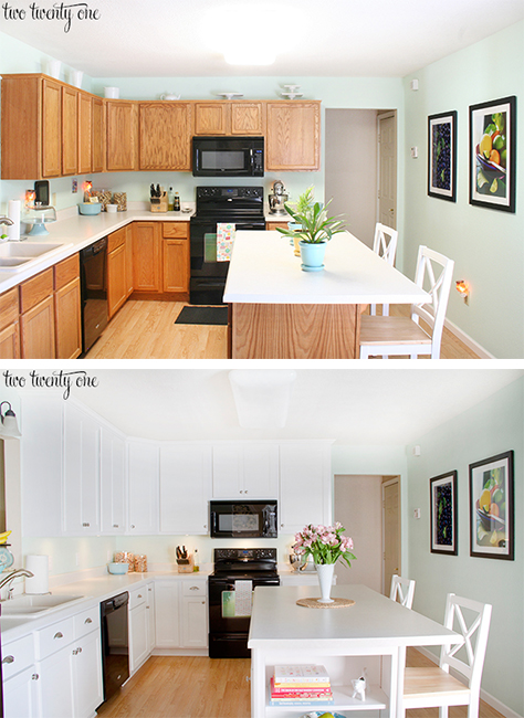 kitchen cabinet makeover before and after - Oak Kitchen Cabinet Makeover