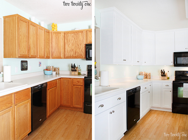 before and after white kitchen cabinets home tour 9091