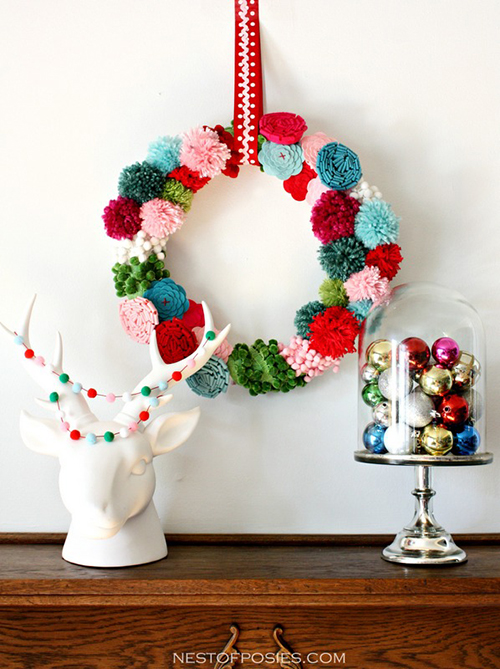 pom pom and posie wreath by Nest of Posies