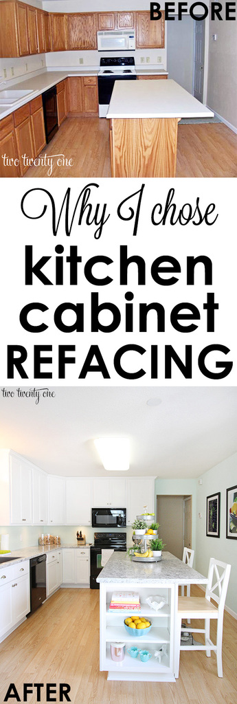 kitchen cabinet makeover reveal install kitchen island Why I chose kitchen cabinet refacing instead of installing new cabinets