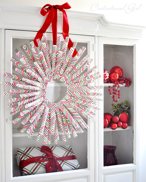 wrapping paper wreath by Centsational Girl