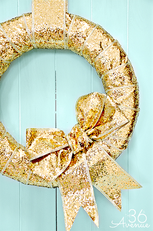 gold ribbon wreath by The 36th Avenue