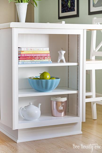 kitchen island bookshelf