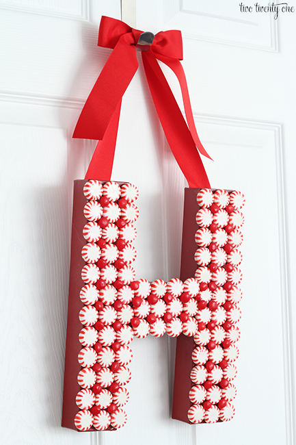 peppermint monogram wreath by Two Twenty One