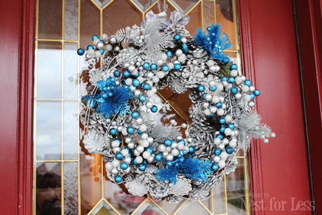 silver and blue pinecone wreath by How to Nest for Less