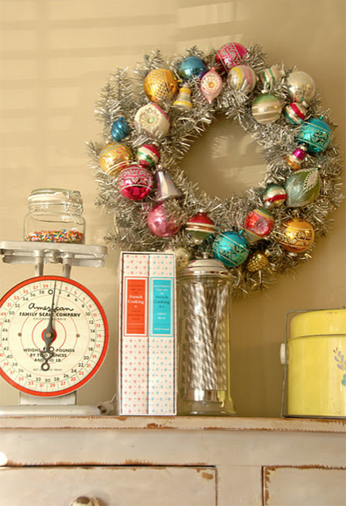 vintage ornament wreath by Blue Eyed Yonder