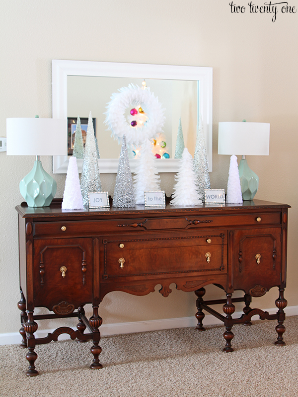 Antique buffet decorated for Christmas
