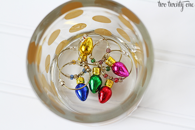 displaying wine glass charms