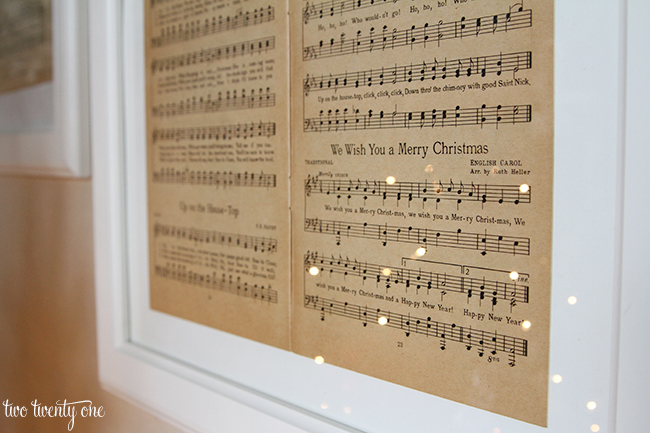 Framed vintage Christmas sheet music